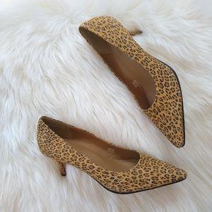 Shoes - /Caressa/ suede leopard print kitten heels